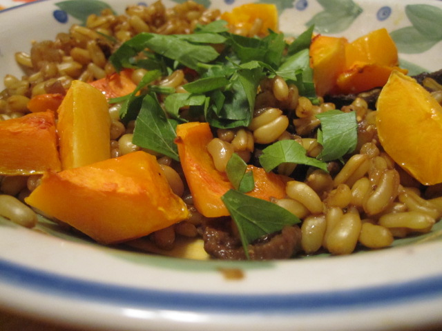 Easy Gourmet Recipes - Kamut Berries with Porcini Mushrooms and Butternut Squash
