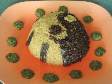 Black & White Quinoa Timbale with Wasabi Pesto and Nori Strips